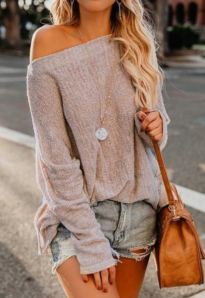 Beige Cold Shoulder Knit Sweater