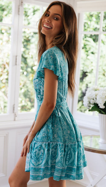 Teal Floral Waist-Tie Surplice Dress