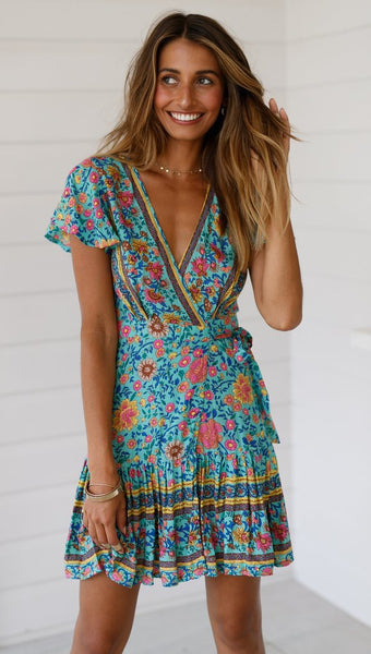 Teal Boho Waist-Tie Surplice Dress