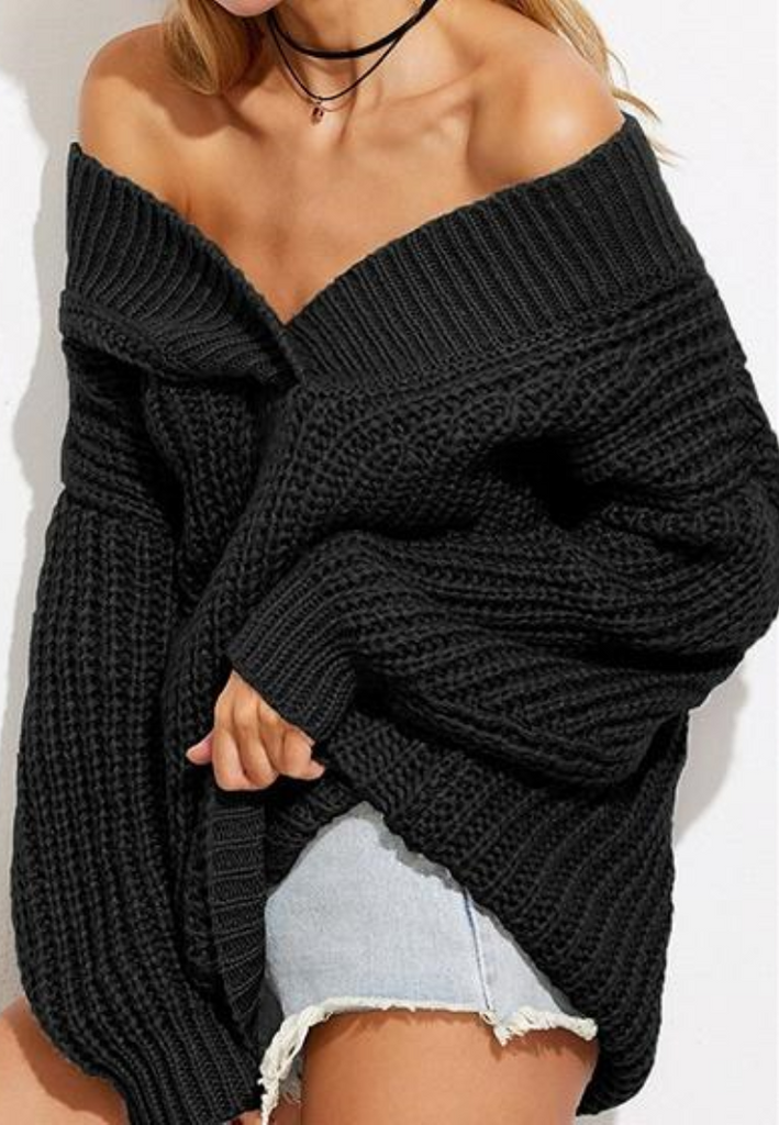 Black Cold Shoulder V-neck Long Sleeve Chic Women Knit Sweater