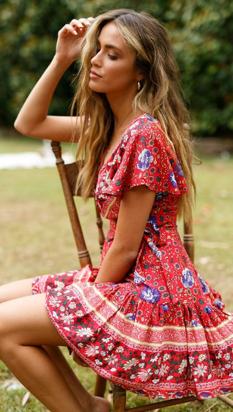Boho Red Floral Waist-Tie Surplice Dress