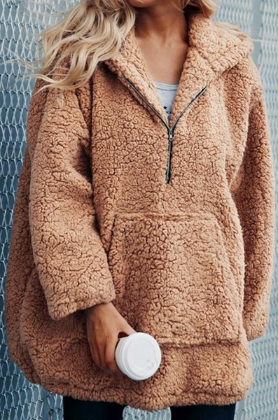 Camel Brown Pouch Pocket Long Sleeve Chic Women Hoodie