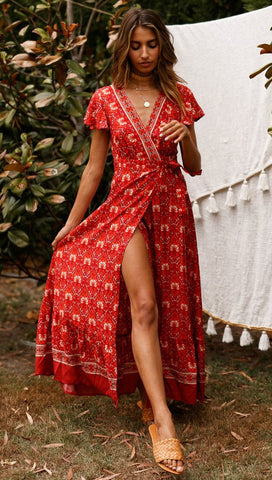 Red Floral Bohemia Sun Dress