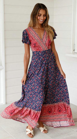 Navy Red Floral Sun Dress