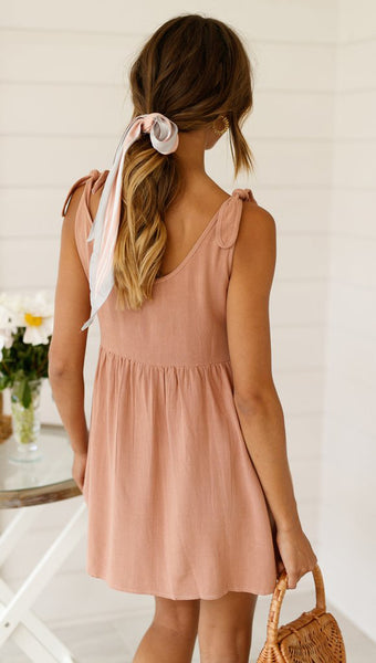 Dusty Pink Shoulder-Tie Shift Dress