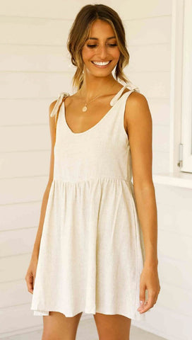 Beige Shoulder-Tie Shift Dress
