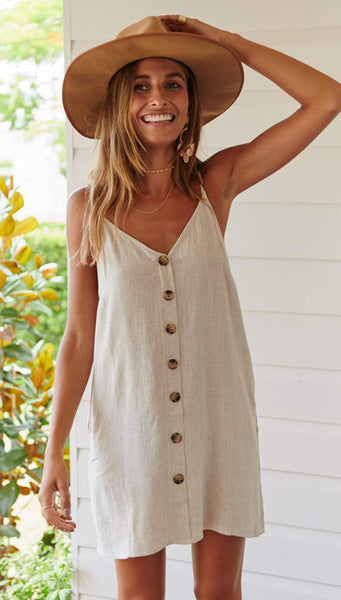Beige Button Down Linen Cami Dress