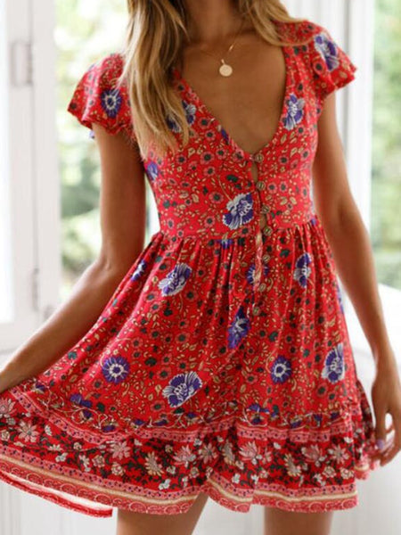 Red Floral Button Down Skater Dress