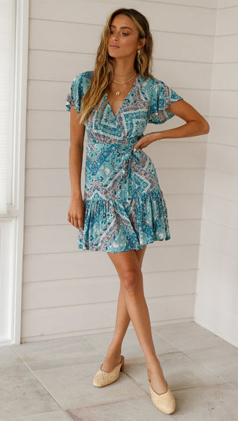 Blue Floral Waist-Tie Surplice Dress