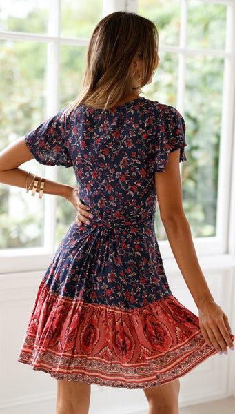 Color Block Navy Floral Waist-Tie Surplice Dress