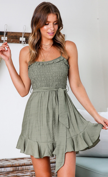 Olive Green Smocked Mini Dress