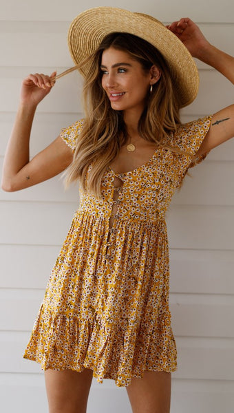 Yellow Floral Button Down Skater Dress