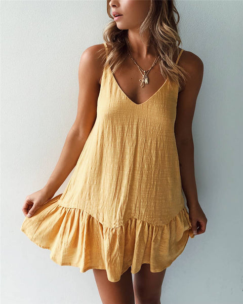 Yellow V Neck Slip Dress