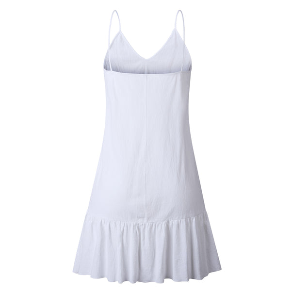 White V Neck Slip Dress