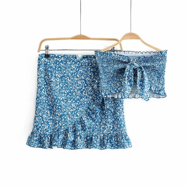 Navy Floral Bowknot Top and Skirt Sets