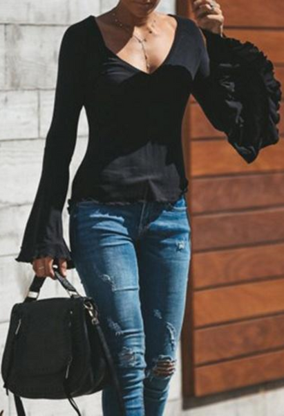 Black V-neck Flare Sleeve Blouse
