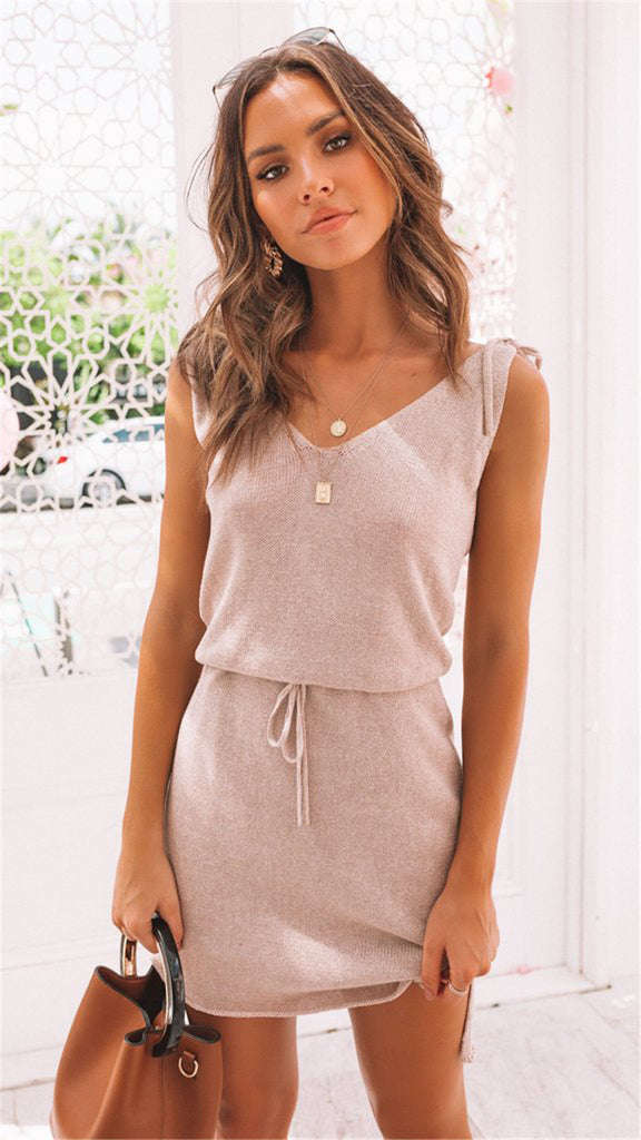 Pink Sleeveless Withdraw Knit Dress