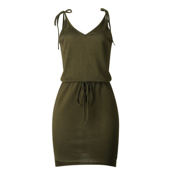 Olive Green Sleeveless Withdraw Knit Dress