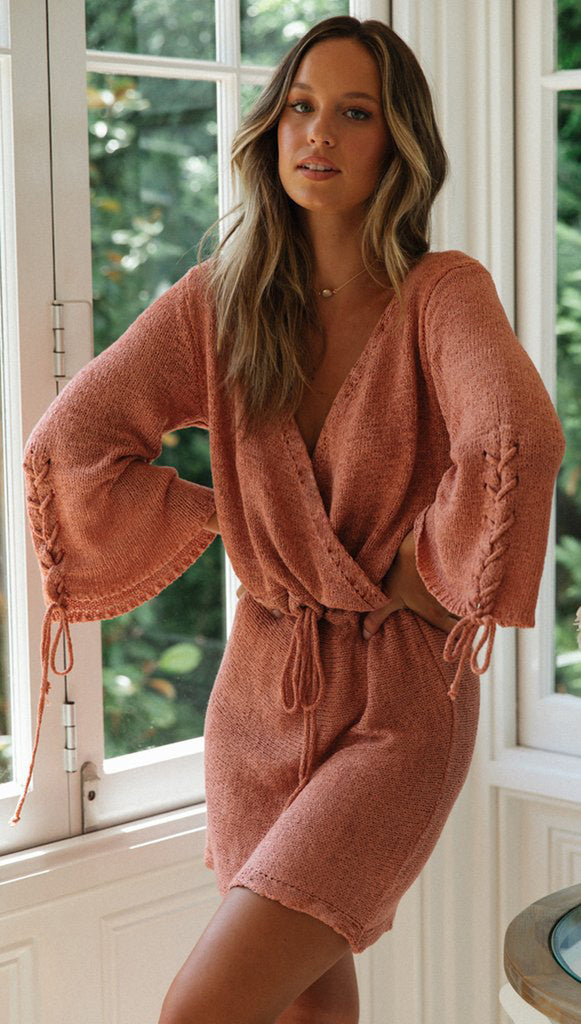 Pink Surplice Withdraw Knit Dress