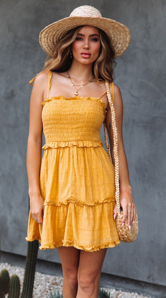 Yellow Smocked Shoulder-Tie Mini Dress