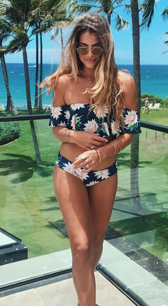Navy Floral Off-the-shoulder Bikini Sets