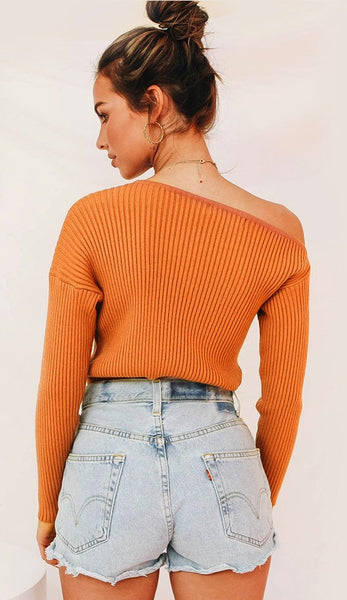 Orange Off the Shoulder Knit Sweater
