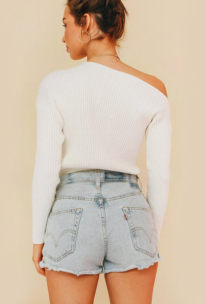 White Off the Shoulder Knit Sweater