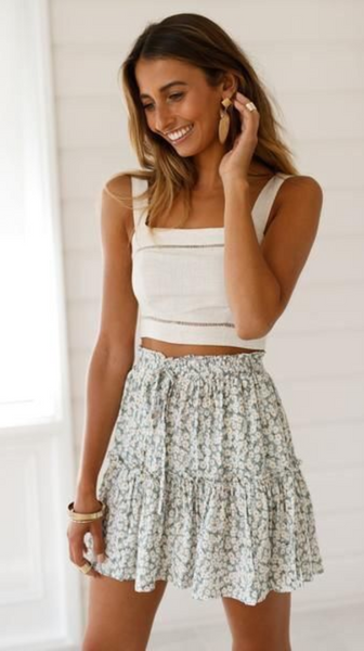 Green Floral Print Withdraw Mini Skirt
