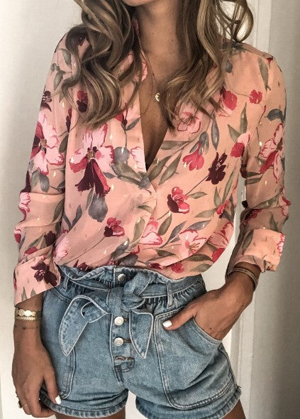 Vintage Pink Floral Button Down Shirt