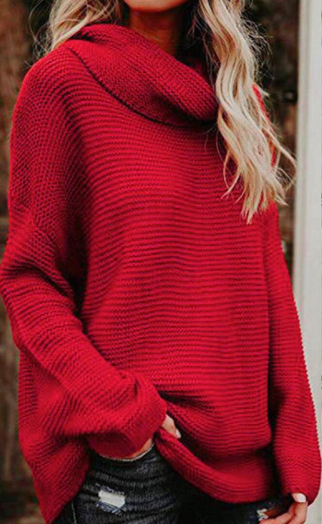 Red Ribbed Knit Turtleneck Sweater