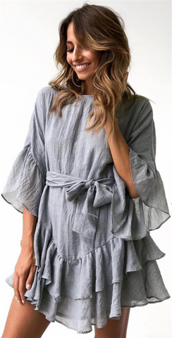 Gray Flare Sleeves Flounced Linen Dress