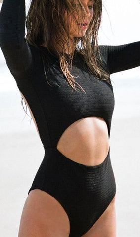 Open Back Long Sleeve One Piece Swimwear