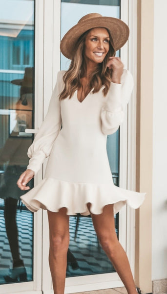 Beige V Neck Flounce Long Sleeve Dress