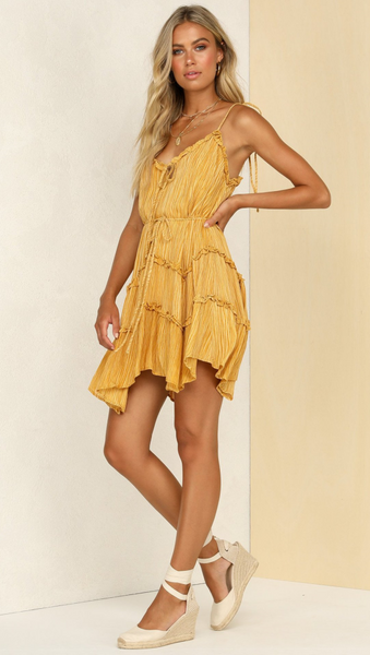 Solid Yellow Frill Mini Dress