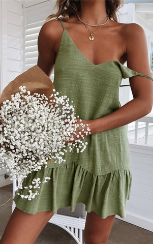 Green V Neck Slip Dress