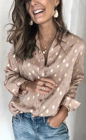 Khaki Polka Dot Button Down Shirt