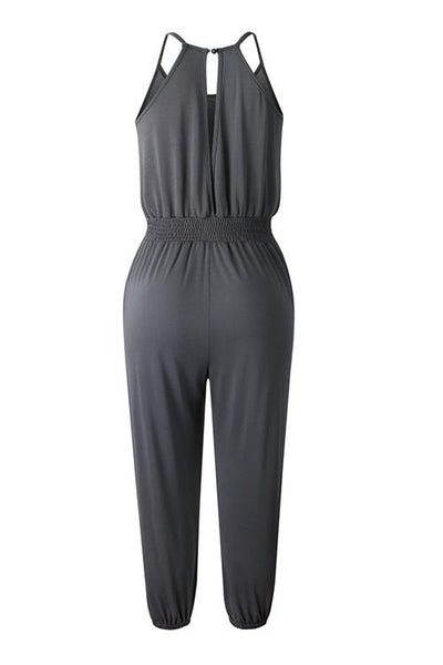 Pockets Drawatring Slip Jumpsuit