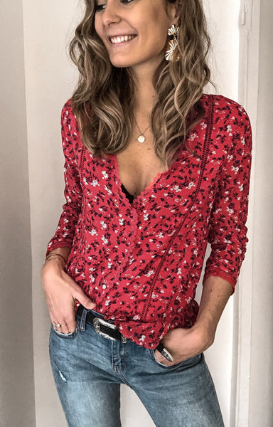 Red Floral Print Button Down Shirt