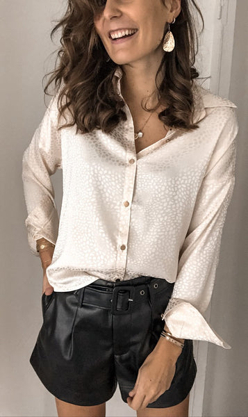 Beige Patterned Button Down Shirt