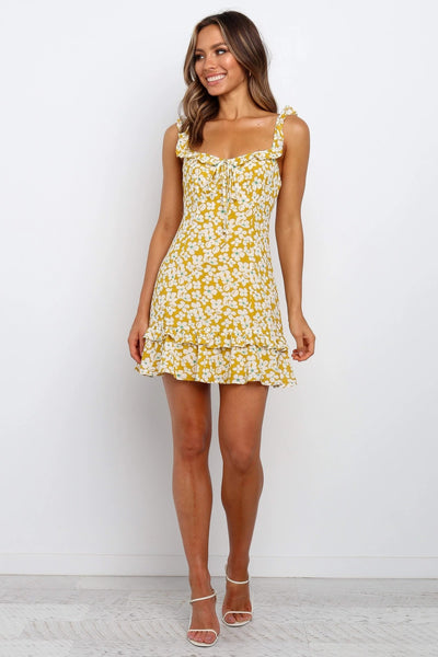 Yellow Sunflower Print Frill Mini Dress