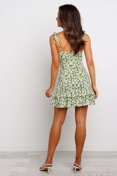 Green Sunflower Print Frill Mini Dress