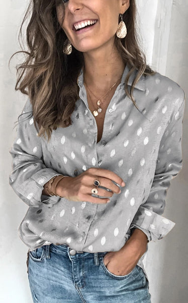 Gray Polka Dot Button Down Shirt