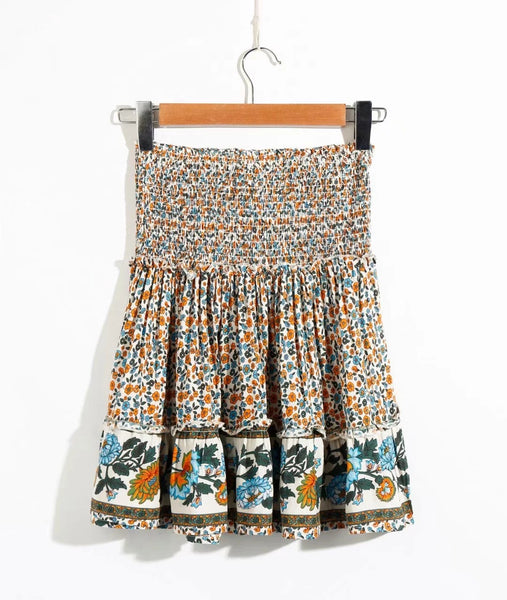 Boho Floral Smocked Mini Skirt