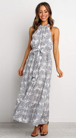 Gray Leavy Silhouette Print Halter Midi Dress