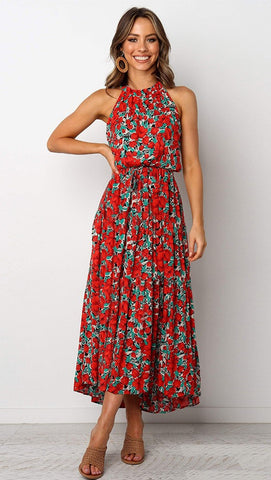 Red Rose Print Halter Midi Dress