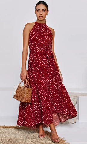 Red Polka Dot Halter Midi Dress
