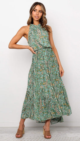 Green Paisley Print Halter Midi Dress