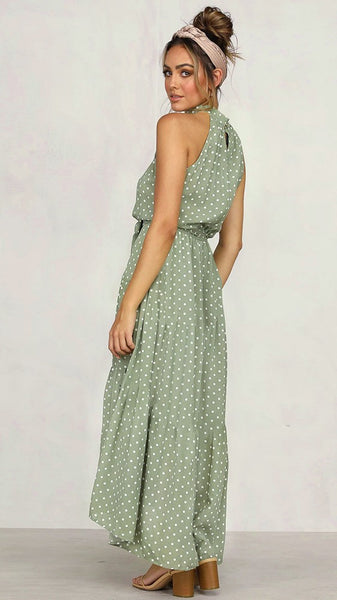 Green Polka Dot Halter Midi Dress