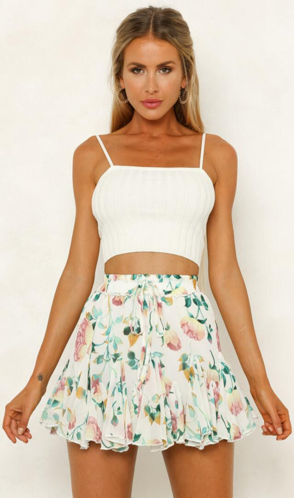 Pastel Floral Foliage Withdraw Mini Skirt