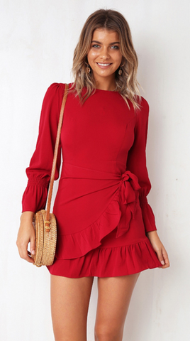 Red Long Sleeve Waist Tie Dress